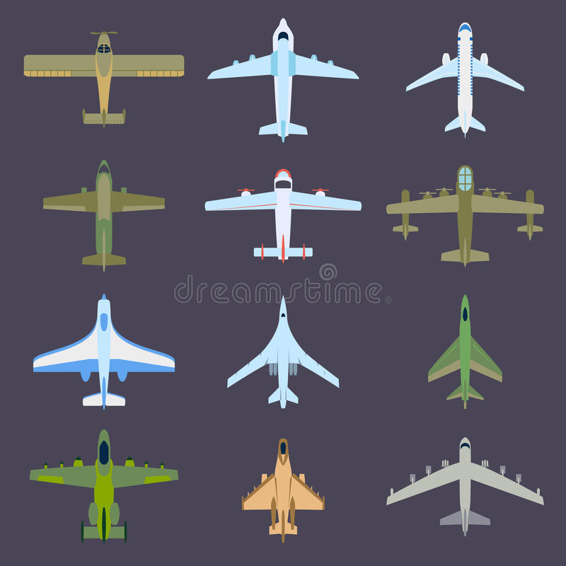 Air plane top view vector. royalty free illustration