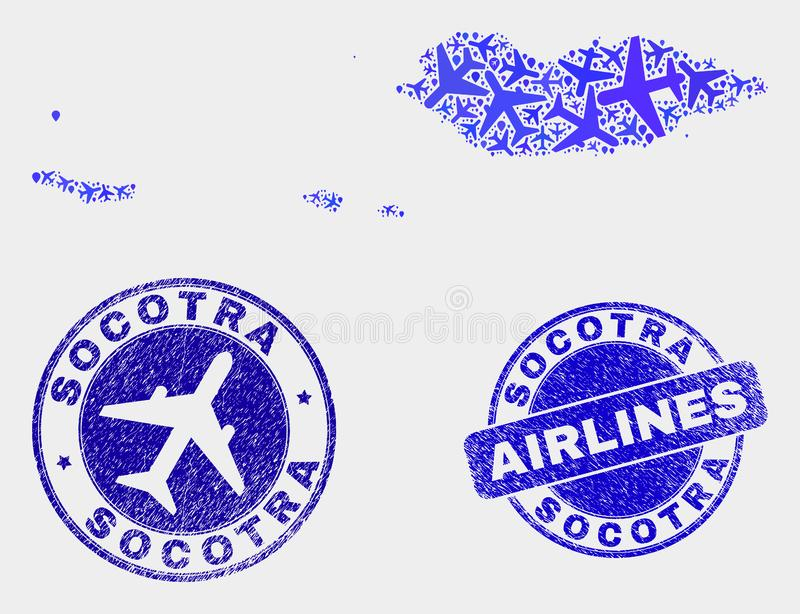 Air plane Composition Vector Socotra Archipelago Map and Grunge Seals. Air plane vector Socotra Archipelago map composition and scratched seals. Abstract Socotra vector illustration