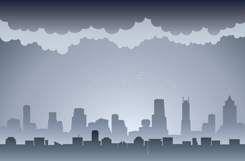 Air Pollution. Dirty smoky and foggy city image royalty free illustration