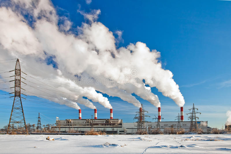 Air pollution. Heavy industrial pollution, environment problem stock photography