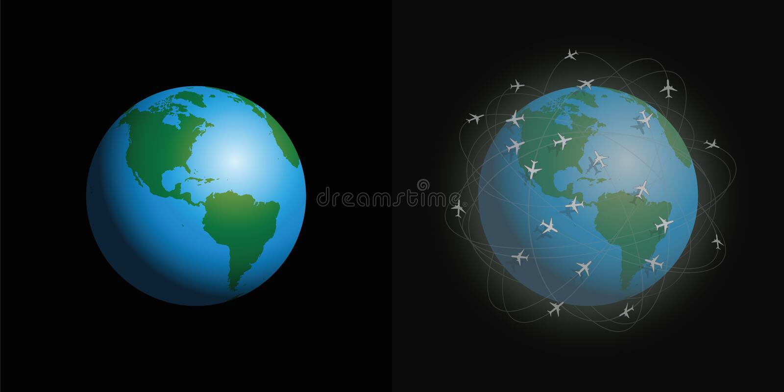 Air Pollution Airplanes Clean Dirty Planet stock illustration