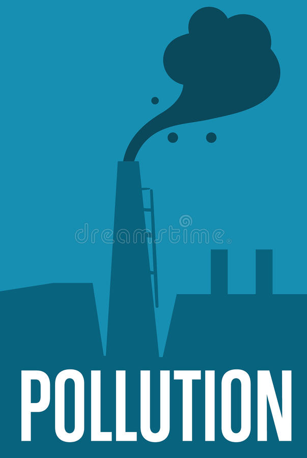 Air pollution banner. Factory with smoke stack vector illustration