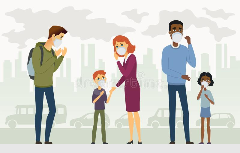 Air pollution - cartoon people characters vector illustration vector illustration