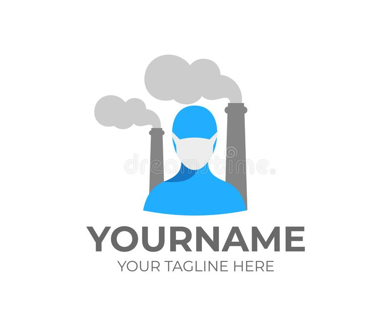 Air pollution and man in mask for mouth on background of smoking industrial pipes from factories and factory, logo template. Ecolo vector illustration