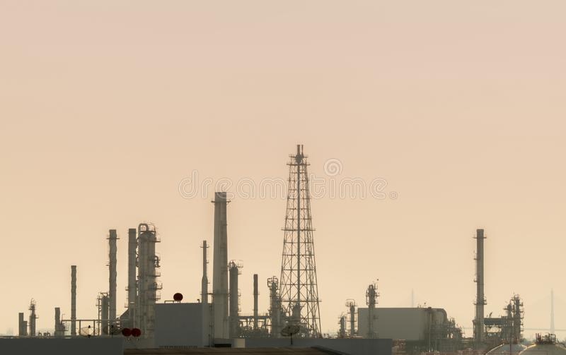 Air pollution at oil petroleum refinery plant. Bad air quality filled with dust. Global warming from air pollution problem. Environmental problem from gas royalty free stock photos