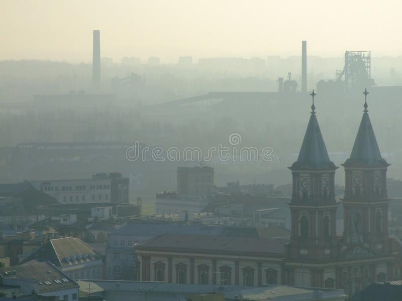Smog over Ostrava in Czech. Air pollution in Ostrava. Photo taken during November sunny day from city hall tower. Mist related to high amount of pm10 and pm2,5 stock photos