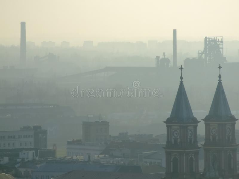 Smog over Ostrava in Czech. Air pollution in Ostrava. Photo taken during November sunny day from city hall tower. Mist related to high amount of pm10 and pm2,5 stock photography