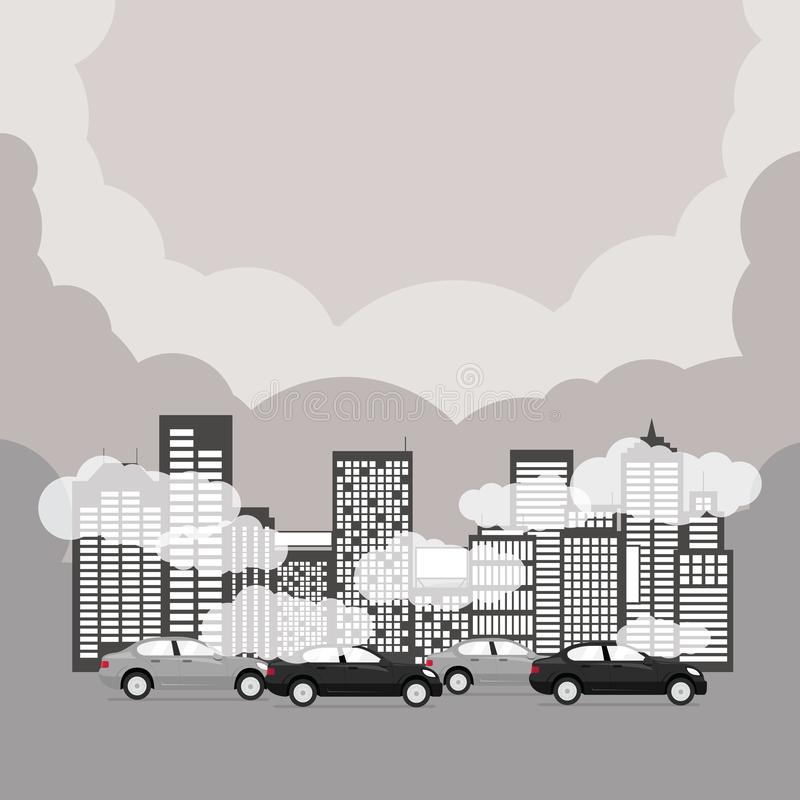 Air pollution with skyscrapers, cars in rush hour. royalty free illustration