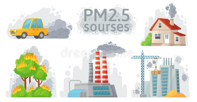Air pollution source. PM 2.5 dust, dirty environment and polluted air sources infographic vector illustration. Air pollution source. PM 2.5 dust, dirty royalty free illustration