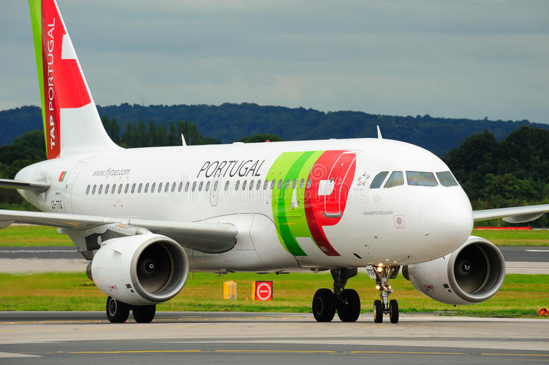 Air Portugal Airbus A319. Taxiing at Manchester Airport stock photos