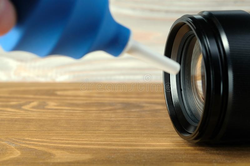 Air pump for clean camera and photo lens. stock image