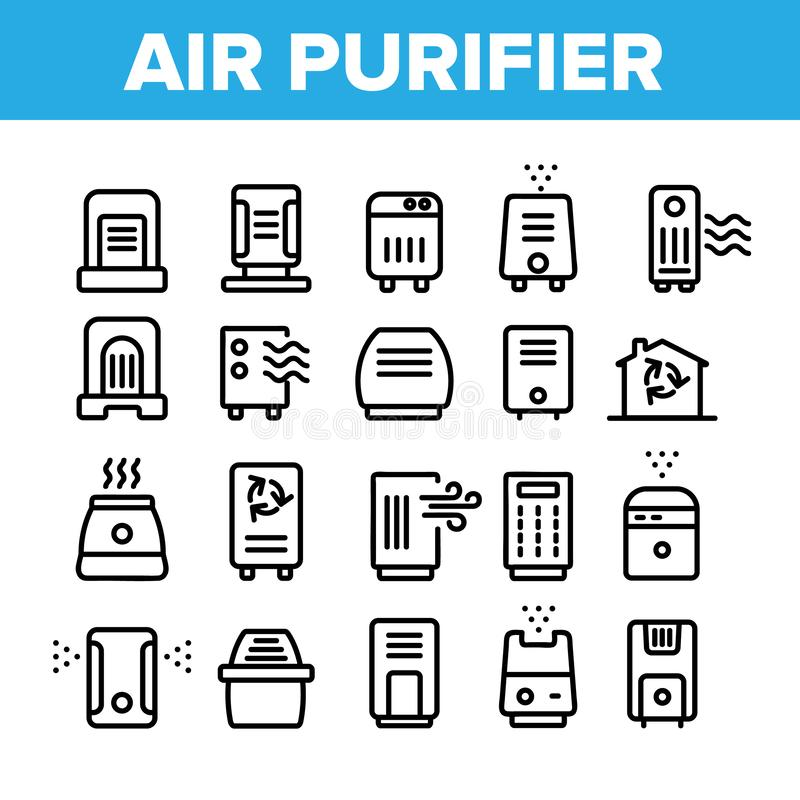 Air Purifier Devices Collection Icons Set Vector. Thin Line. Electronic Appliance Air Purifier And Ionizer Concept Linear Pictograms. Ventilation Technology stock illustration
