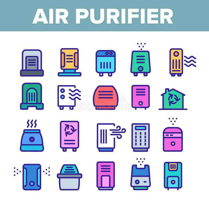 Air Purifier Devices Color Icons Set Vector. Air Purifier Devices Collection Icons Set Vector Thin Line. Electronic Appliance Air Purifier And Ionizer Concept royalty free illustration