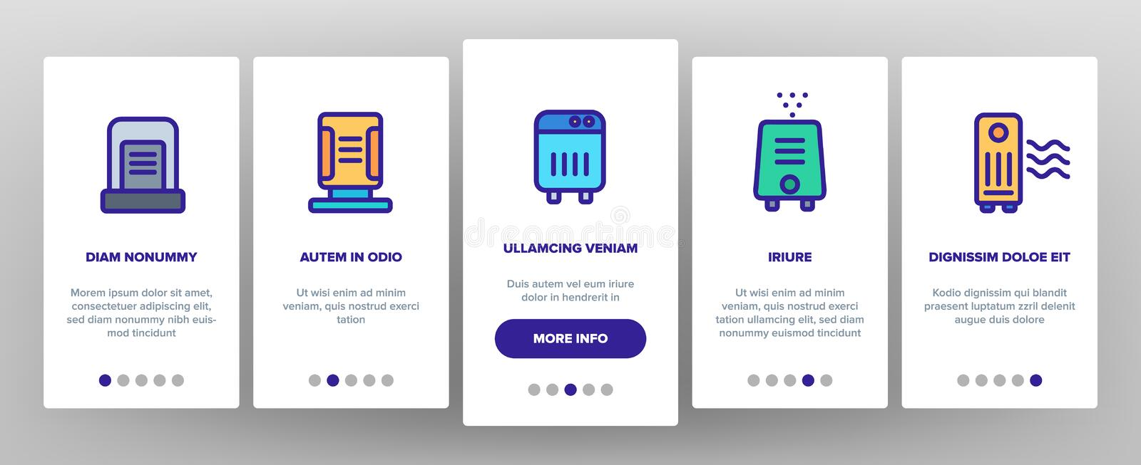 Air Purifier Devices Onboarding Icons Set Vector. Air Purifier Devices Onboarding Mobile App Page Screen Vector Thin Line. Electronic Appliance Air Purifier And royalty free illustration