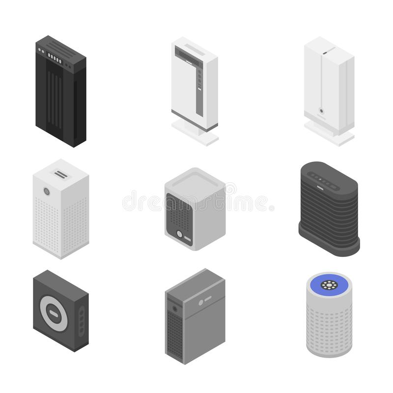 Air purifier icons set, isometric style royalty free illustration