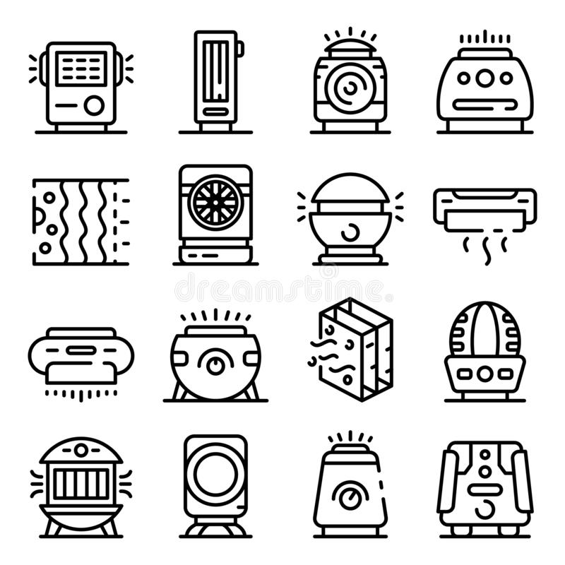 Air purifier icons set, outline style. Air purifier icons set. Outline set of air purifier vector icons for web design isolated on white background vector illustration