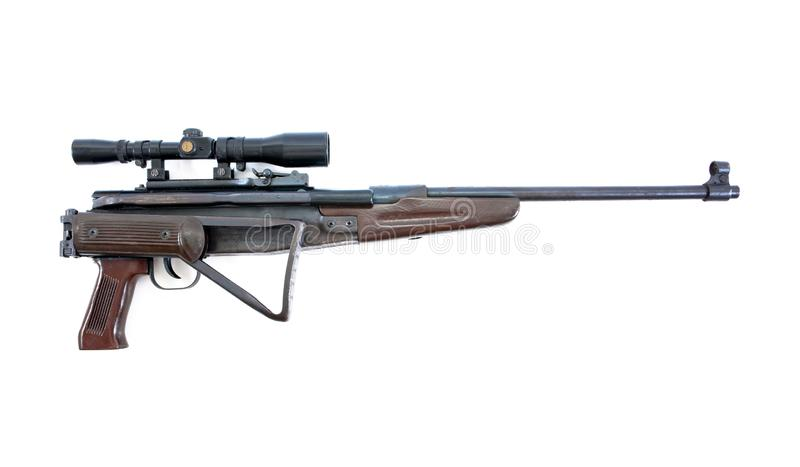Air rifle isolated over white. Air gun isolated. Long air gun isolated. Fold the base air gun isolated stock images