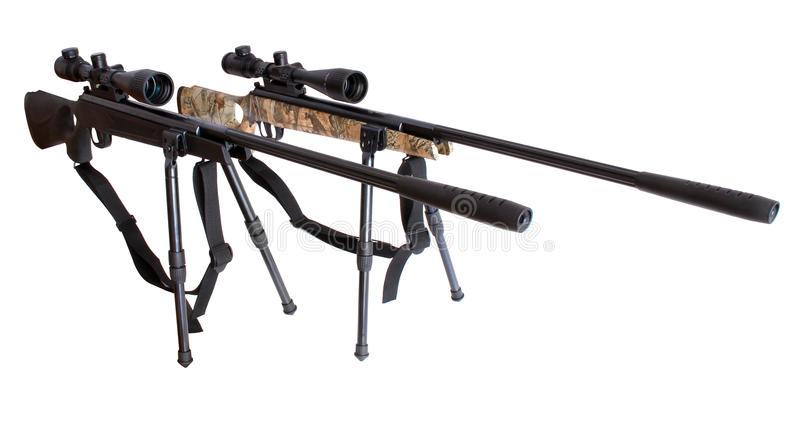 Air rifles with telescopic sights with bipod. On a white backround royalty free stock images