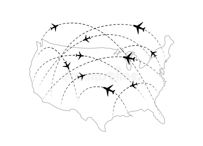 Air Routes With Black Plane Icons On USA Map Stock Illustration - Usa map black