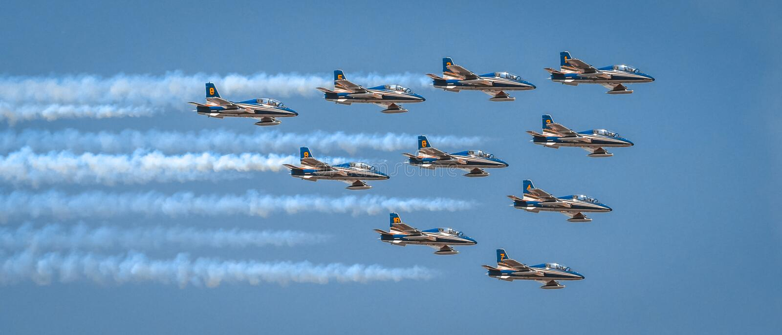 Air Show aviatic Bucharest Romannia aircraft plane flight amazing view royalty free stock photo