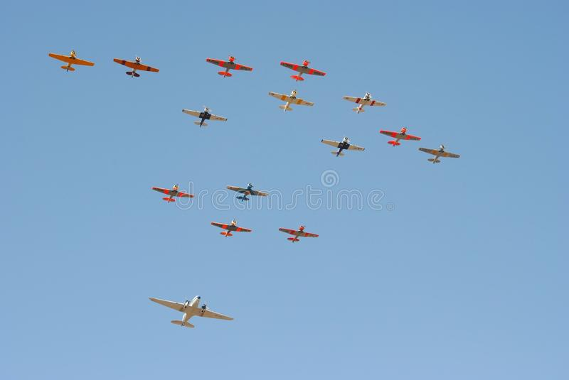 Air show. Fifteen plane fly past at the Swartkop air show in Pretoria, South Africa royalty free stock photography