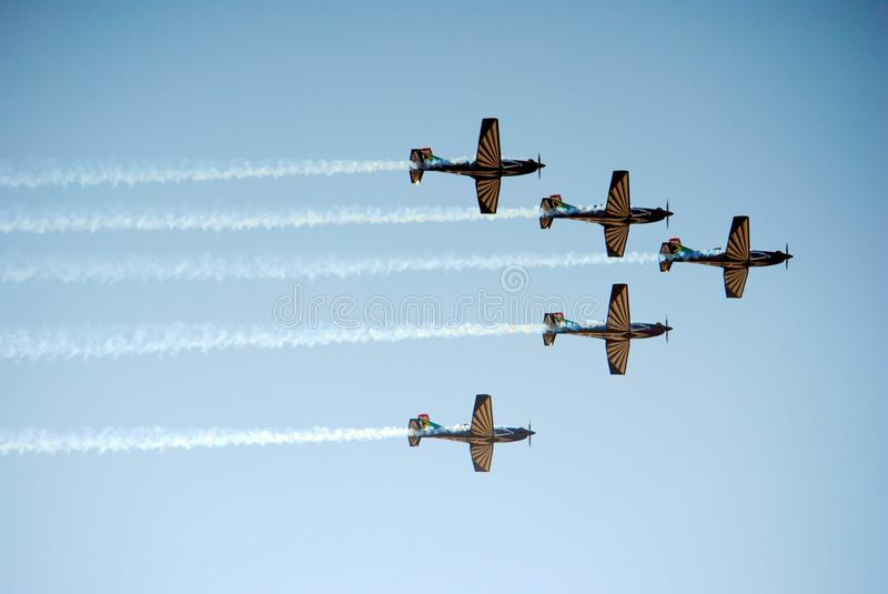 Air show. Flight formation at the Swartkop air show in Pretoria, South Africa royalty free stock images