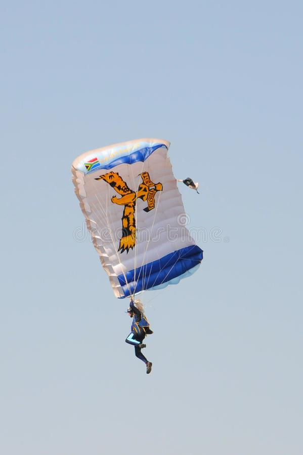 Air show. Air force parachutist at the Swartkop air show in Pretoria, South Africa stock photography