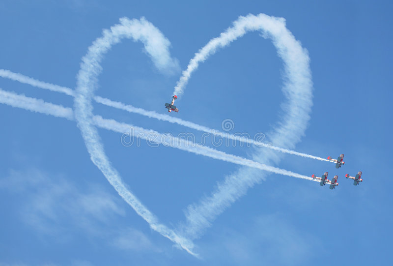Air show heart loop stock images