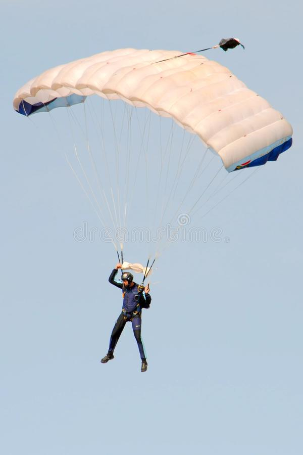 Air show. Parachuting at the Swartkop air show in Pretoria, South Africa royalty free stock photos