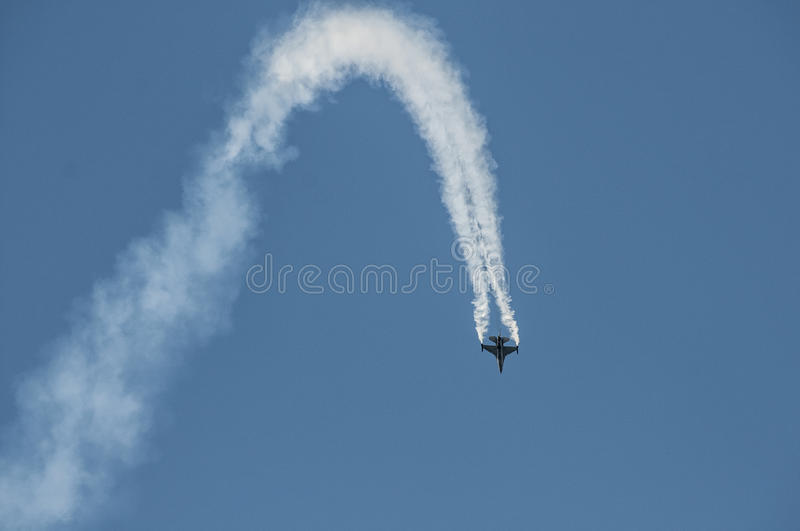 Air show plane. An F16 figher plane at the Athens air show, 2014, Greece royalty free stock photography