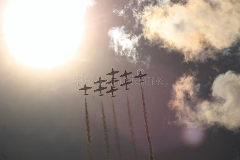 Air Show 9 planes diamond formation stock image