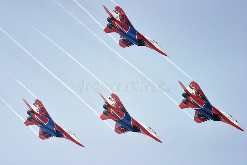Air show team. Zhuhai China, 5 Nov. 2004: China International Aviation & Aerospace Exhibition royalty free stock photo
