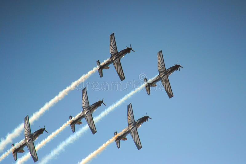 Air show. Team flying at the Swartkop air show in Pretoria, South Africa stock photo