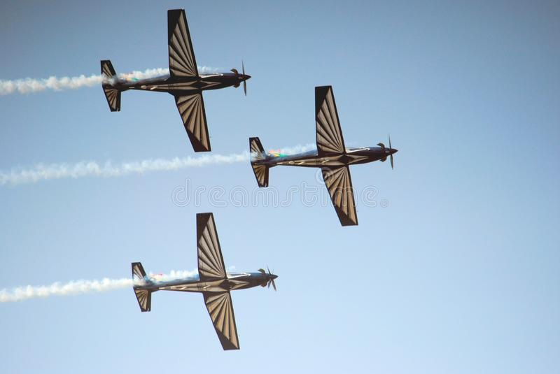 Air show. Three plane fly past at the Swartkop air show in Pretoria, South Africa stock photo