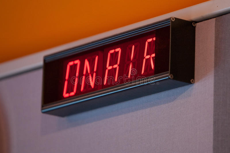 On Air Sign. An on air sign at a radio station royalty free stock photography