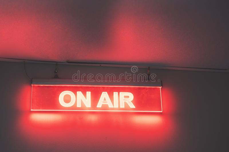 On air sign for radio station. And background stock image