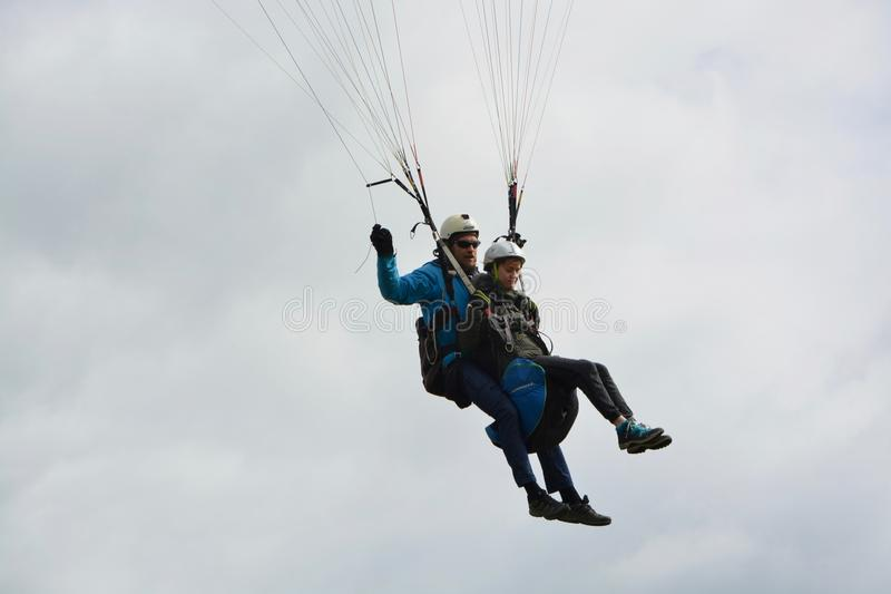 Air Sports, Paragliding, Parachuting, Parachute royalty free stock photos