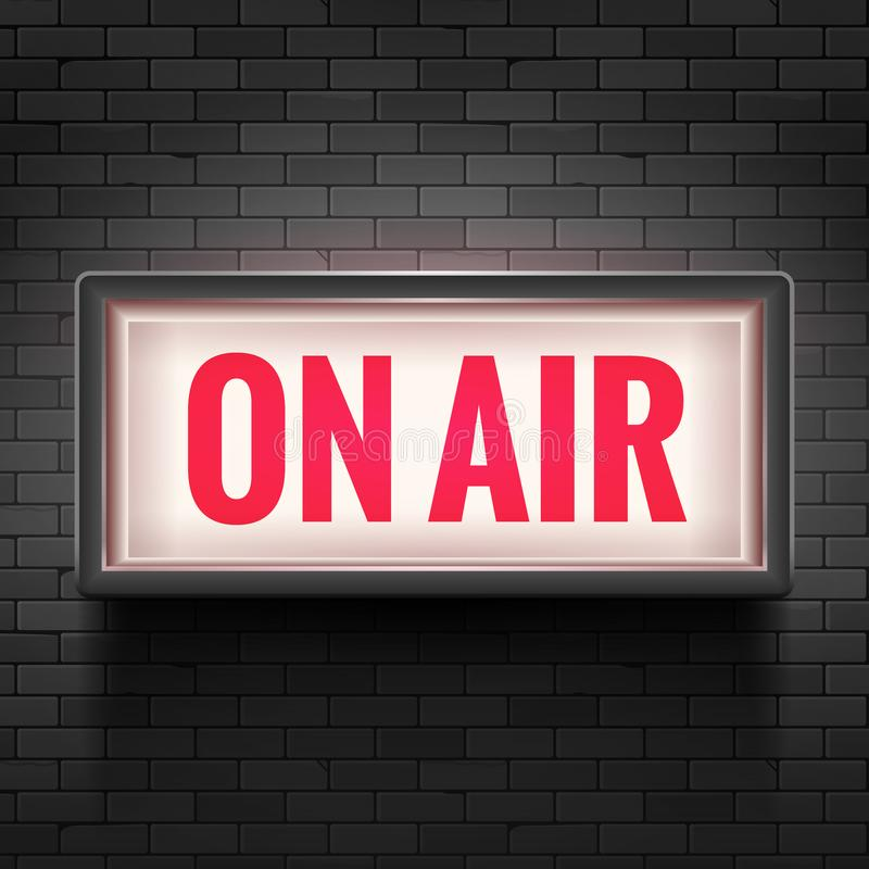 ON AIR studio light sign. Media broadcasting warning sign. Live board production record attention vector illustration