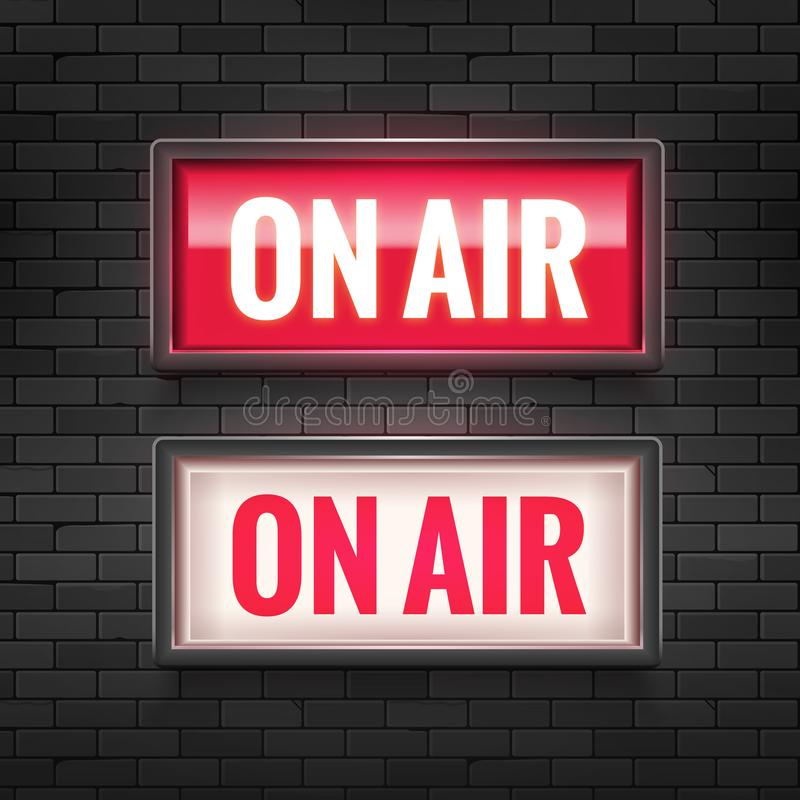 ON AIR studio light sign. Media broadcasting warning sign. Live board production record attention royalty free illustration