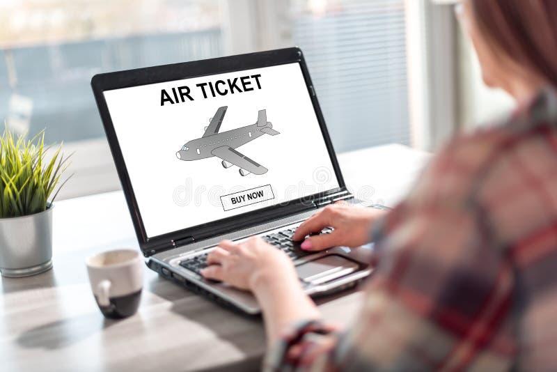 Air ticket booking concept on a laptop screen stock photos