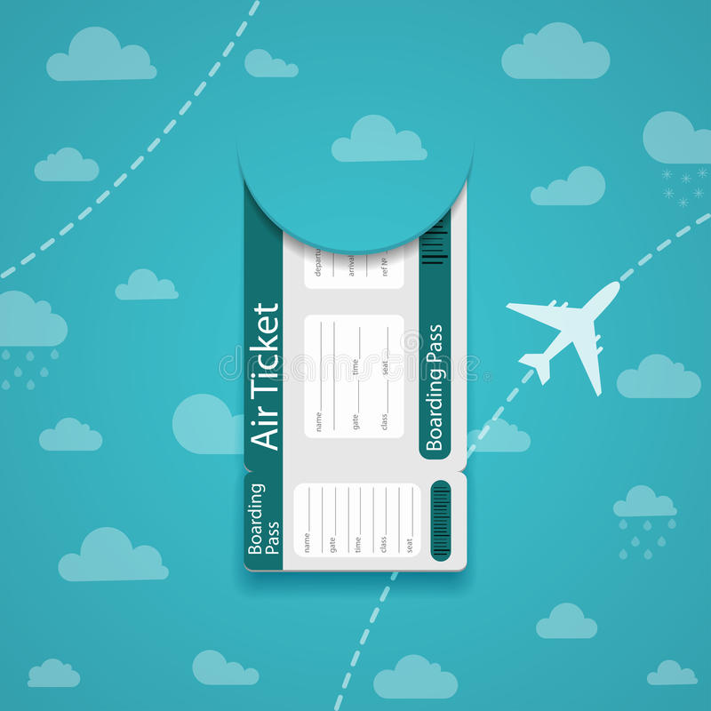Air ticket on sky background. vector illustration