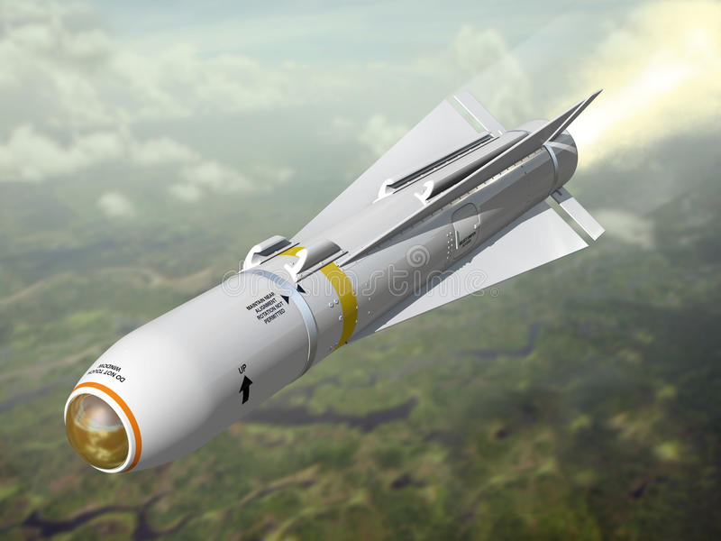 Air-to-ground missile. Air-to-grounVery high resolution 3d rendering of an air-to-ground missile royalty free illustration