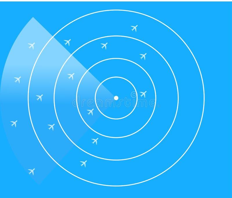 Air Traffic Control Radar Monitor. Blue radar screen with planes, Air Traffic Control Radar Monitor Show Flight airline routes - Illustrator EPS10 royalty free illustration