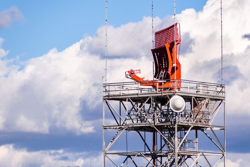 Air traffic control radar in south San Francisco bay, Sunnyvale, California stock images