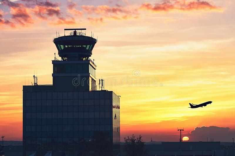 Air Traffic Control Tower. At the airport during amazing sunset. Prague, Czech Republic royalty free stock images