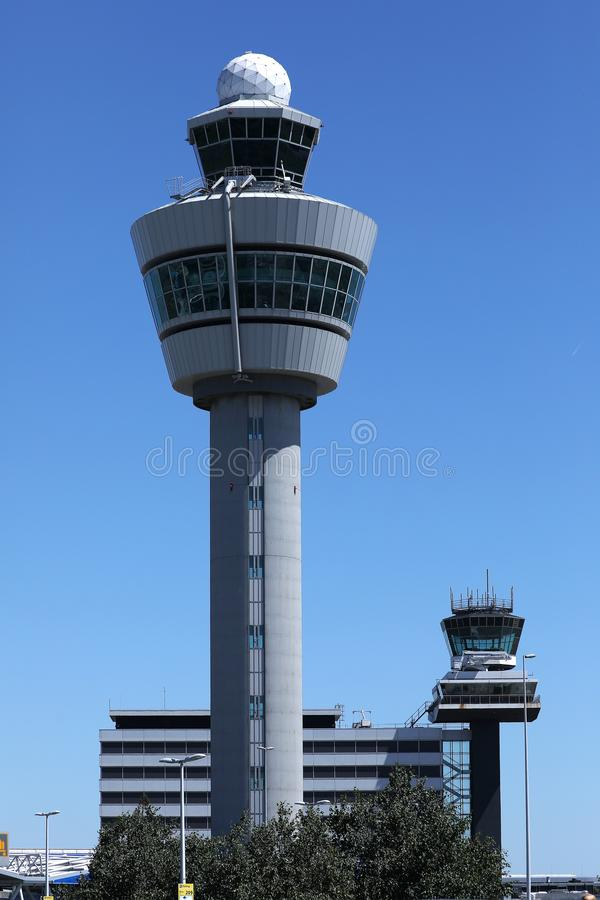 Air traffic control tower in Amsterdam Schiphol Airport, AMS stock image