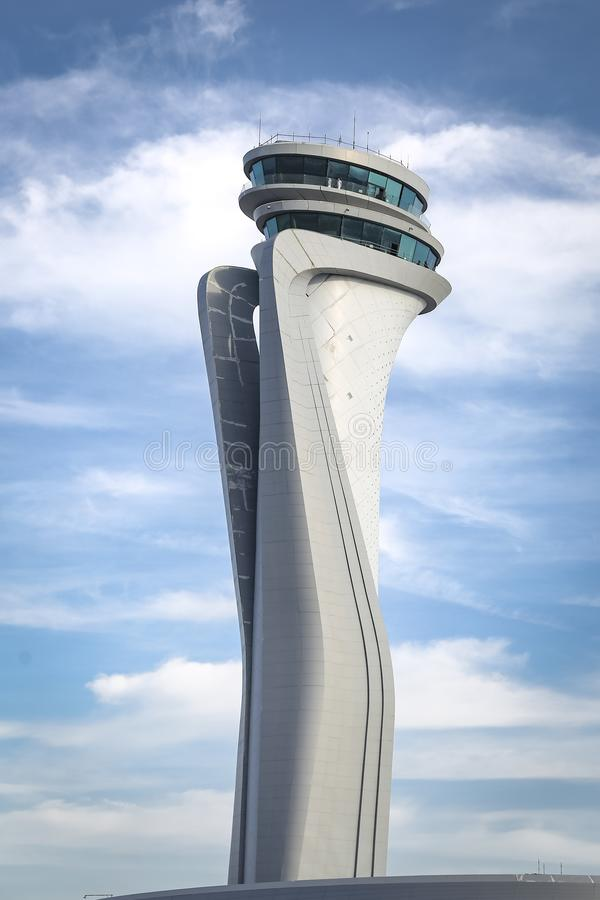 Air traffic control tower of Istanbul new Airport. Turkey royalty free stock photography