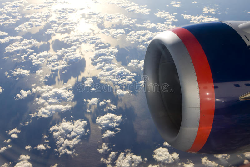 Air transport. Plane's motor stock images