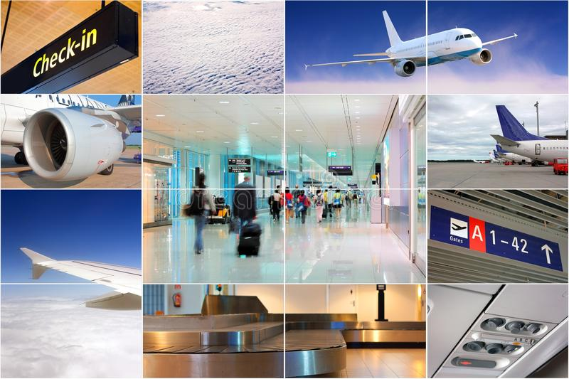 Air transport collage stock images