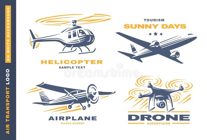 Air transport Logo illustration on white background stock illustration